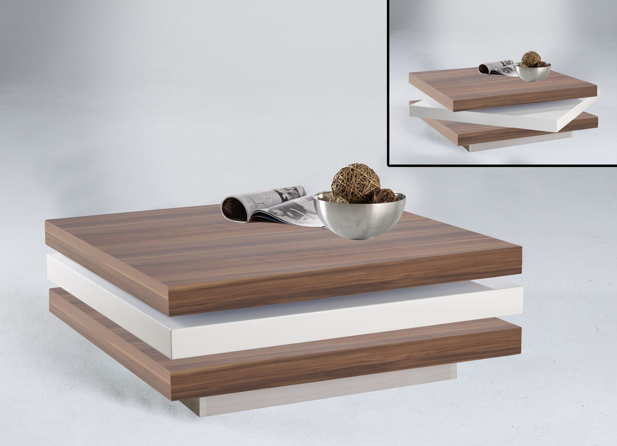 Modern Swivel Coffee Table.Helen Square Swivel Coffee Table In White And Walnut Wood Finish