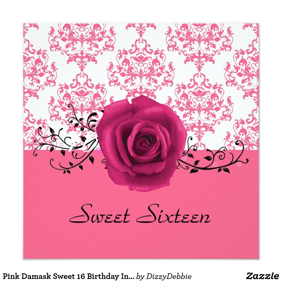 Pink Damask Sweet 16 Birthday Invitation