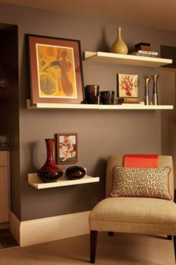 Wandegstaltung Ideen Fürs Wohnzimmer Regale Gemälde An Der Wand   Wohnzimmer  Streichen U2013 106 Inspirierende Ideen