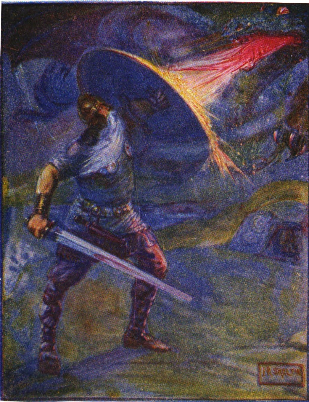 Beowulf Defending Himself From Dragon S Fire Which Melts