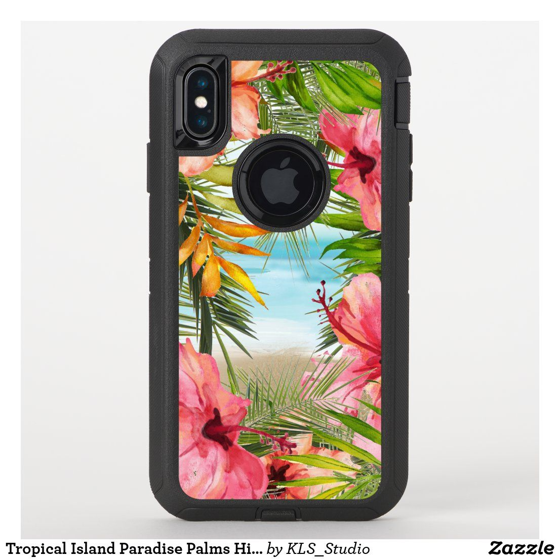 Tropical Island Paradise Palms Hibiscus Flowers OtterBox