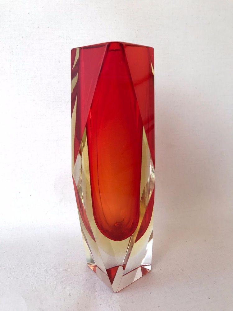 Vintage Retro Mandruzzato Orange Tangerine Clear Murano Glass Facet
