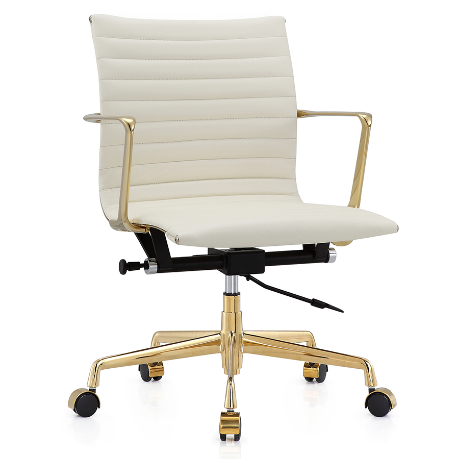 White Leather Office Chair Modern Furniture for Home