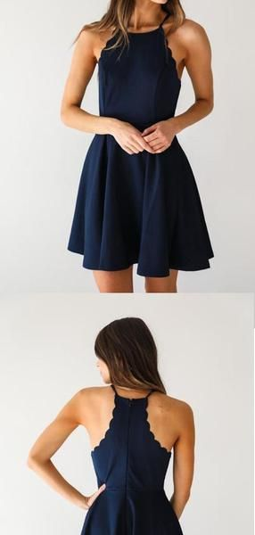 Discount Halter Navy Blue Mini A Line Short Homecoming Dress, BTW205