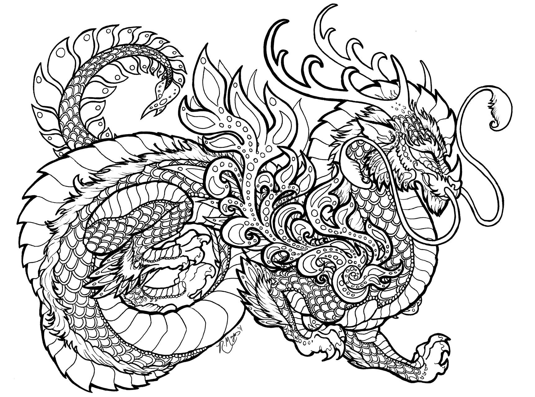 Norse Dragon Coloring Pages For Adults Coloring Pages