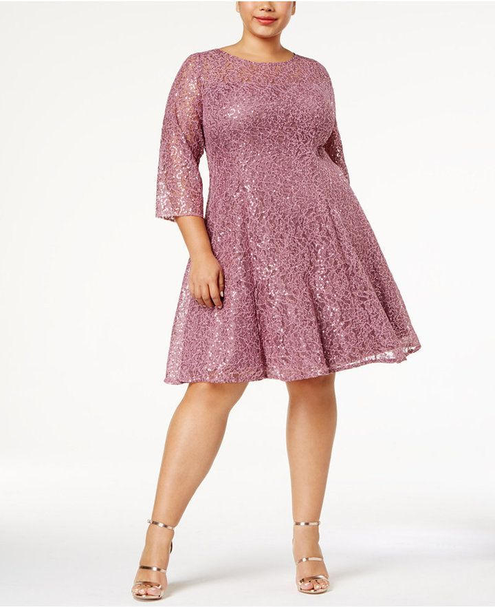a4e685c3ef8 Sl Fashions Plus Size Sequined Lace A-Line Dress
