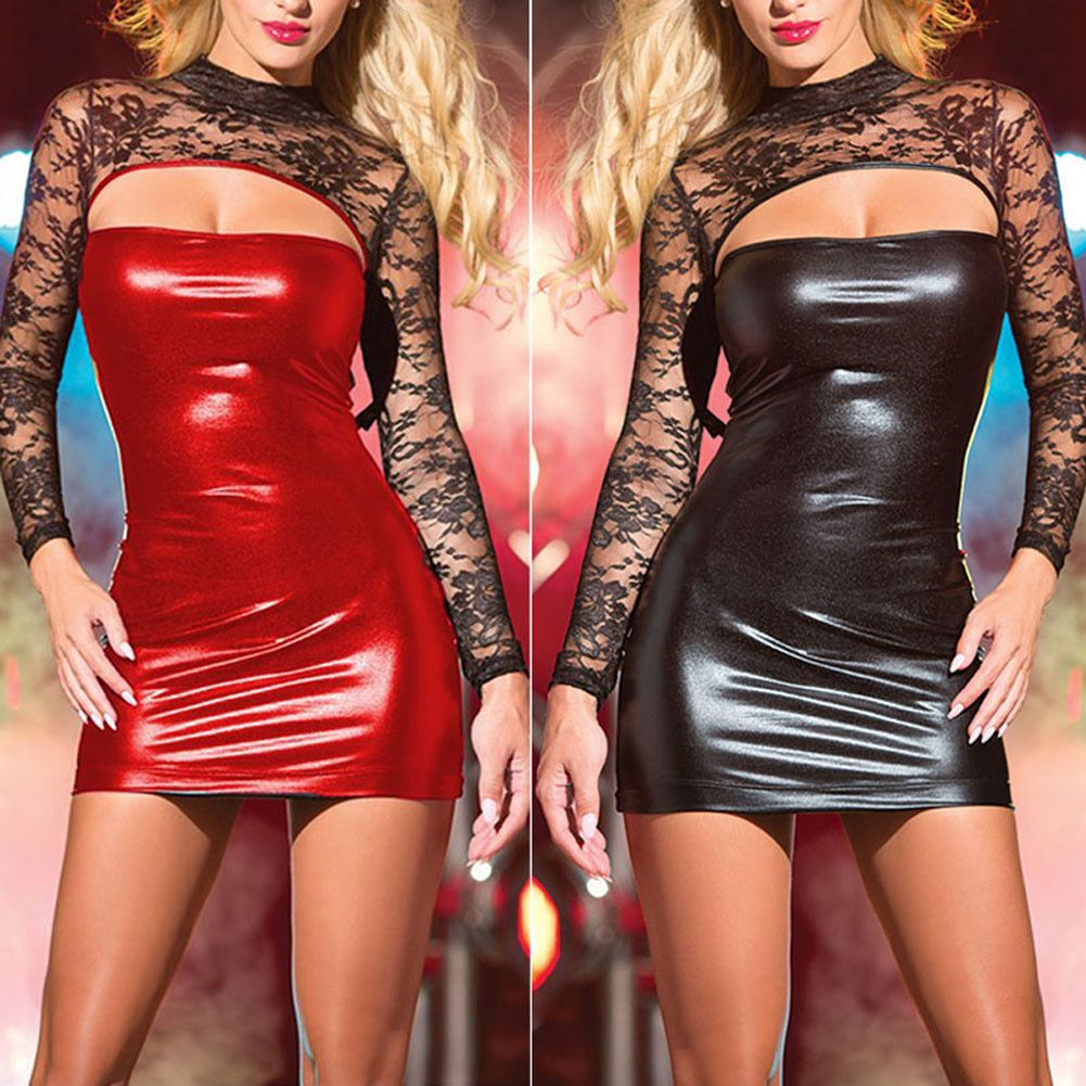 df56e67e62 6.99 ❤ Sexy Women PU Leather Bodycon Short Mini Dress Wet Look Lingerie  Club Wear Skirt ❤  leather  bodycon  lingerie  Mujer  gift  Edgy  Invierno   ootd ...