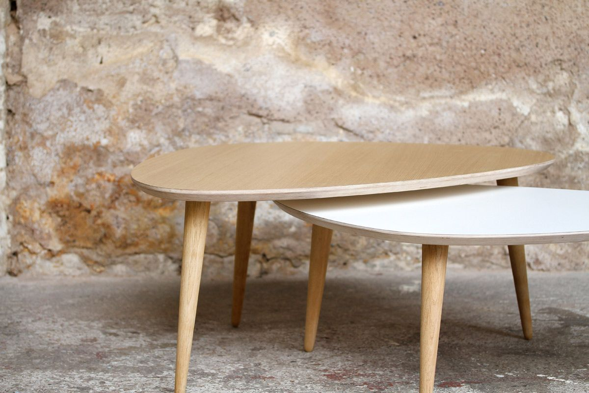 Made In France Table Basse Tripode Gigognes Sur Mesure Table Basse Table Gigogne Scandinave Deco Petit Appartement