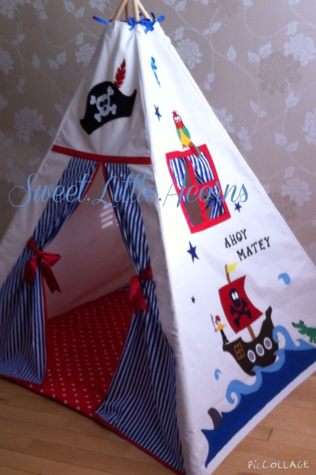 CHILDRENS TEEPEE PLAY TENT DEN Pirate on the sea magical peekaboo teepee #lovemyteepee : pirate play tent - memphite.com