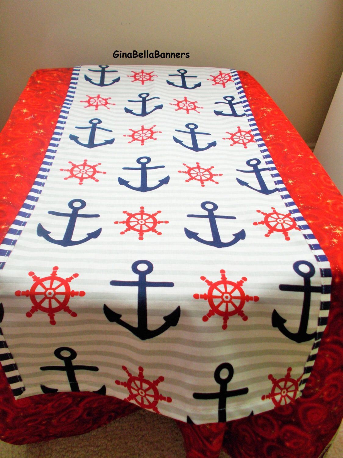Nautical Table Runner Center Piece Navy Red White Blue Boy