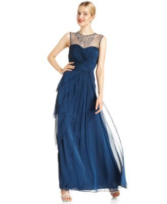 Adrianna Papell Petite Sleeveless Beaded Tiered Gown Dresses