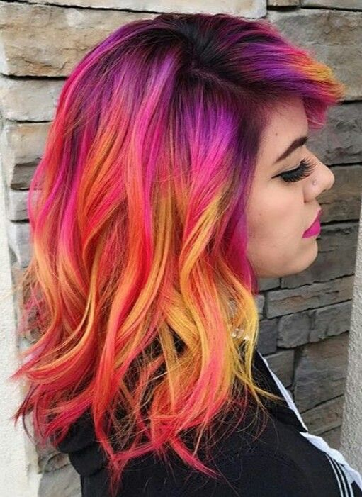 Red Yellow Mixed Dyed Hair Color Idea Inspiration Hair Styles Hair Dye Colors Sunset Hair