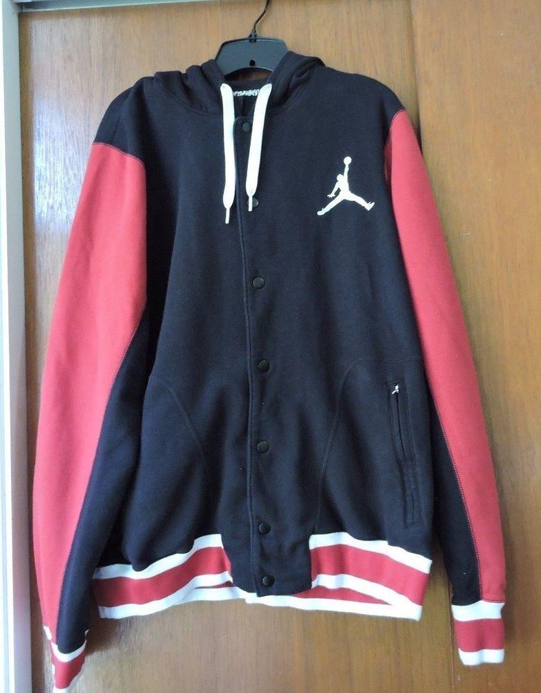 c869cc1430ff6d Nike Air Jordan Varsity Button Up Hoodie Jacket Size XL 547693-011  Nike   CoatsJackets