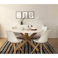 compra en kenay home la mesa redonda de comedor con sobre en blanco mate y soporte de roble macizo acabado natural es perfecta para tu comedor o cocina - Mesa Redonda Comedor