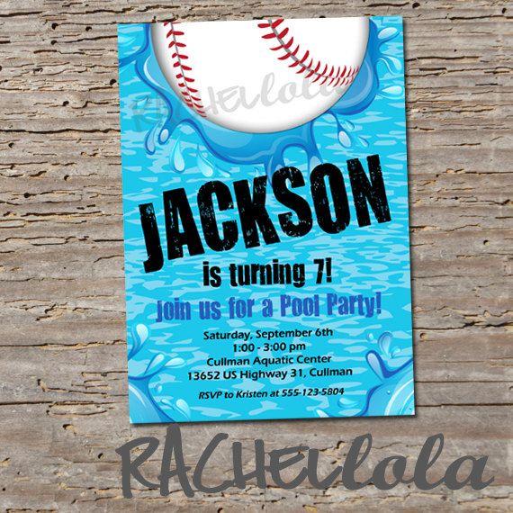 baseball pool birthday invitation printable diy swim by rachellola, Birthday invitations