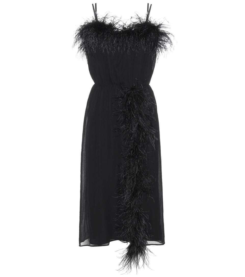 Feather-Trimmed Silk Dress | Prada, Seidenkleid und Federn
