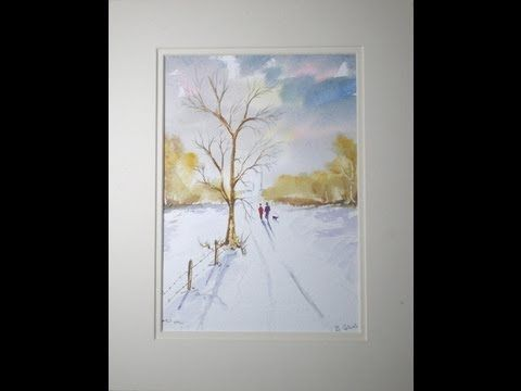 How To Paint Snow And Tree Art Tutorials Watercolor Painting