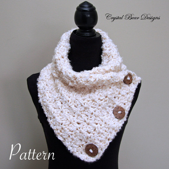 Crochet Scarf with Buttons PATTERN, Neck Warmer, Winter Scarf, Easy ...