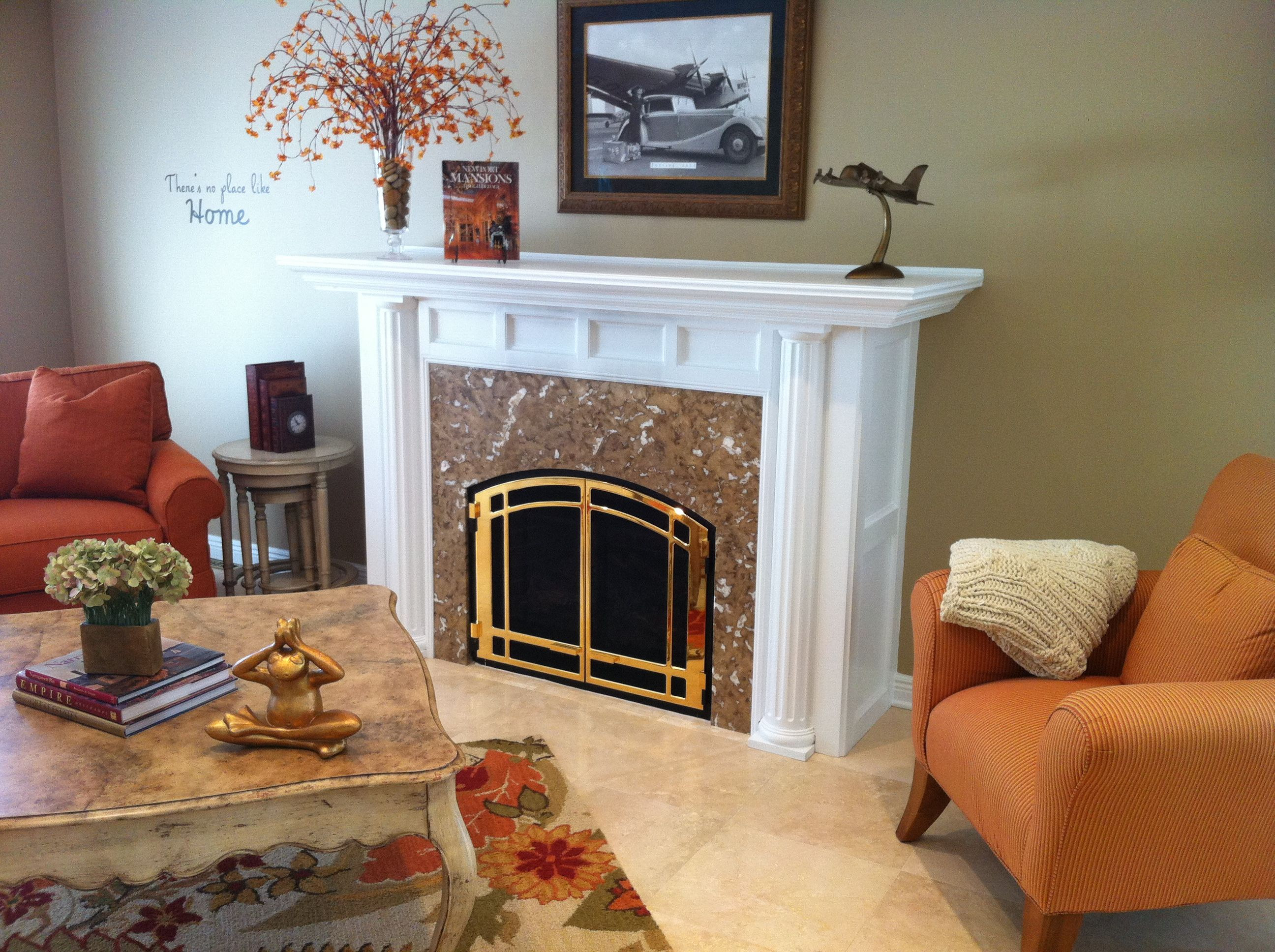 mendota direct vent fireplace custom surround gold front on