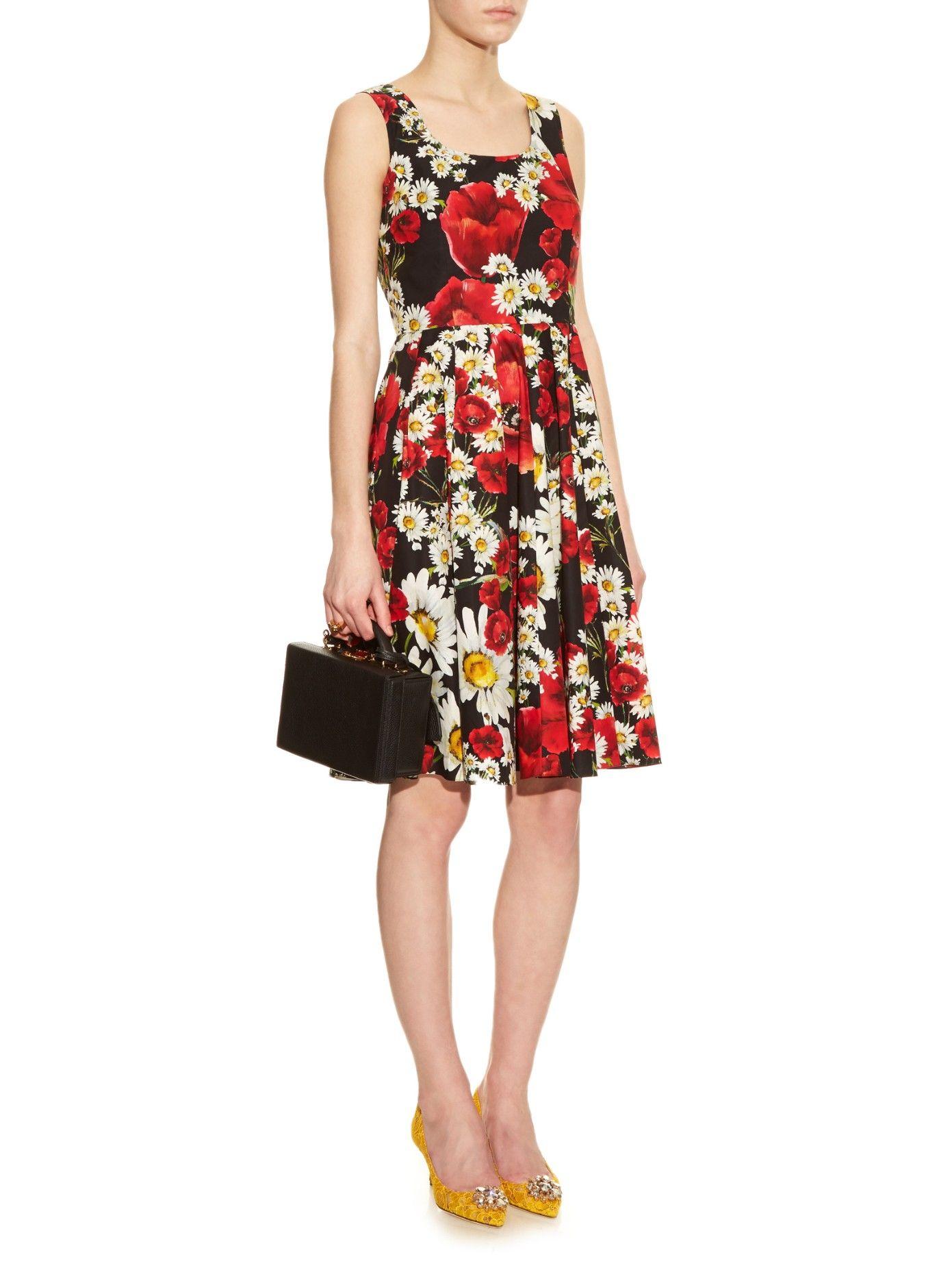 Poppy y vestido de algodón margarita impresas