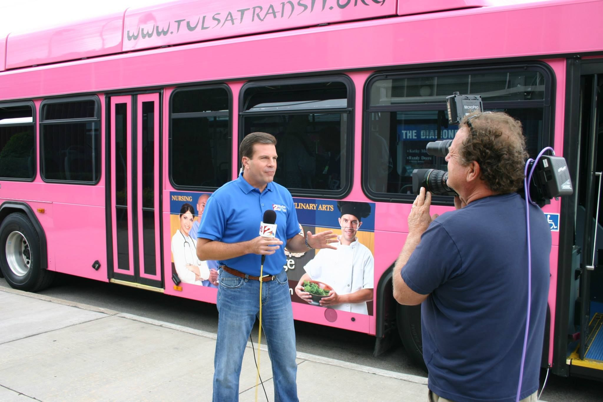 Russ Mccaskey Reports Live From In Front Of The Tulsa Transit Bus Loaded With Operation Homefront Donations Tulsa Military Family Oklahoma