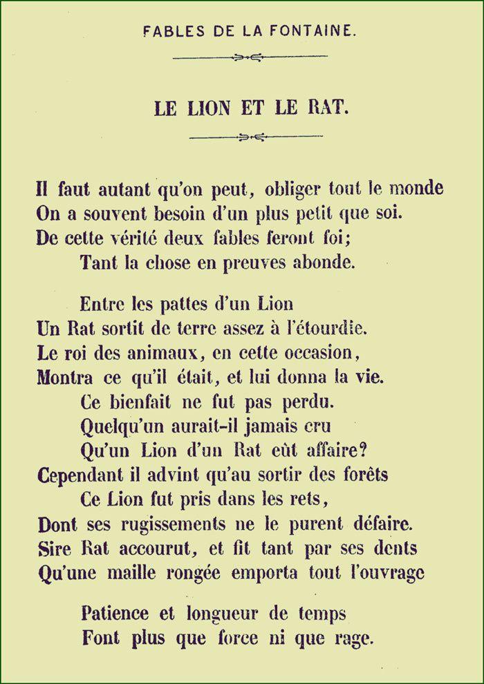 La Fontaine Le Lion Et Le Rat Fables De La Fontaine