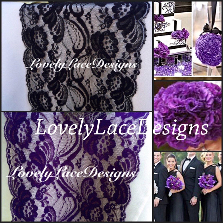Black on black wedding decor  Purple u Black Lace Table Runnerftft x