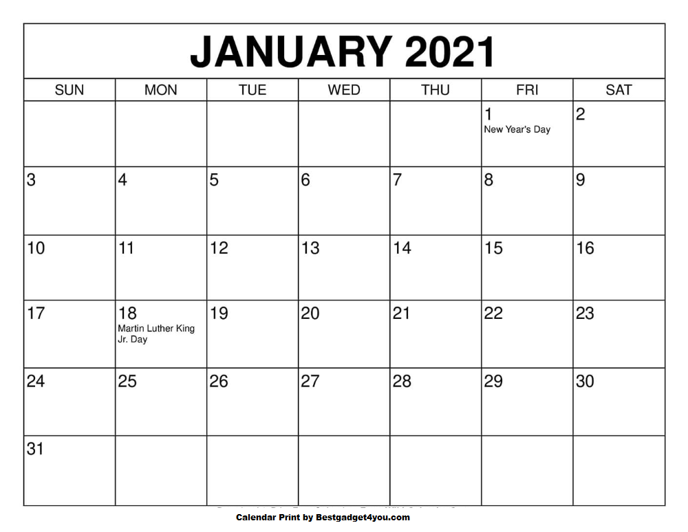January 2021 in 2020 January calendar, Print calendar