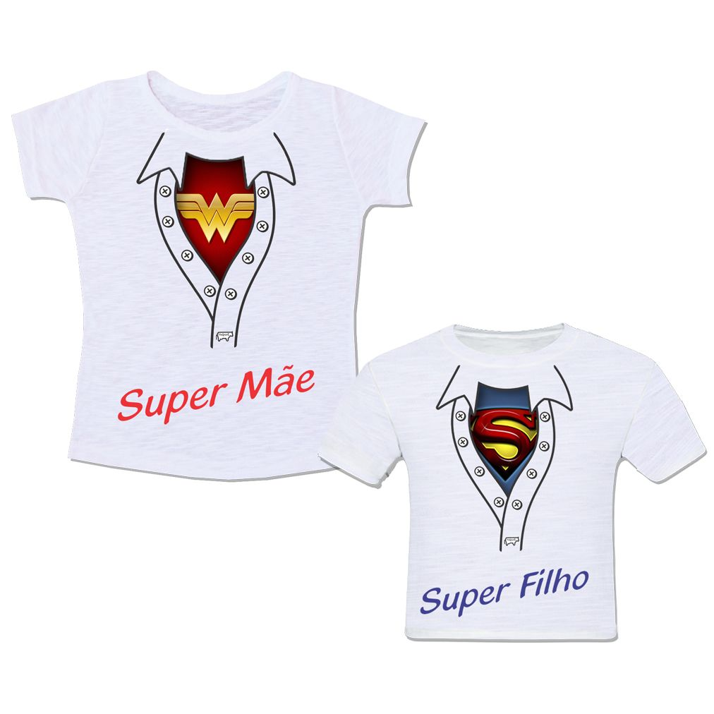 525a13f5b Camiseta Mãe e Filho Super Mãe Super Filho Super Herói Super Man Mulher  Maravilha Wonder Woman