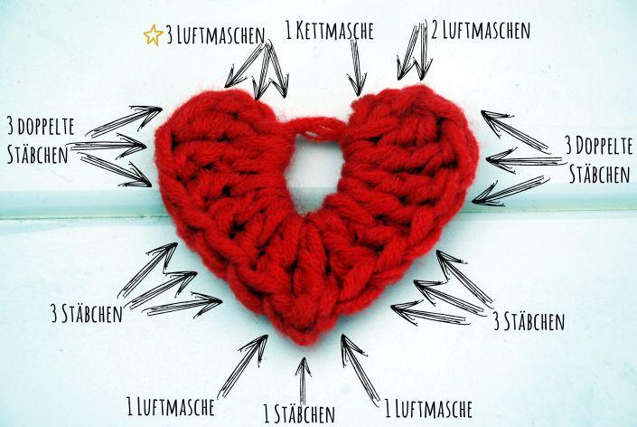 Häkelliebe - Anleitung zum Herzen häkeln | Häkeln | Pinterest ...