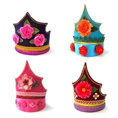Bloom Design Kids Large One of a Kind Felt Handmade Crowns with flowers on Etsy