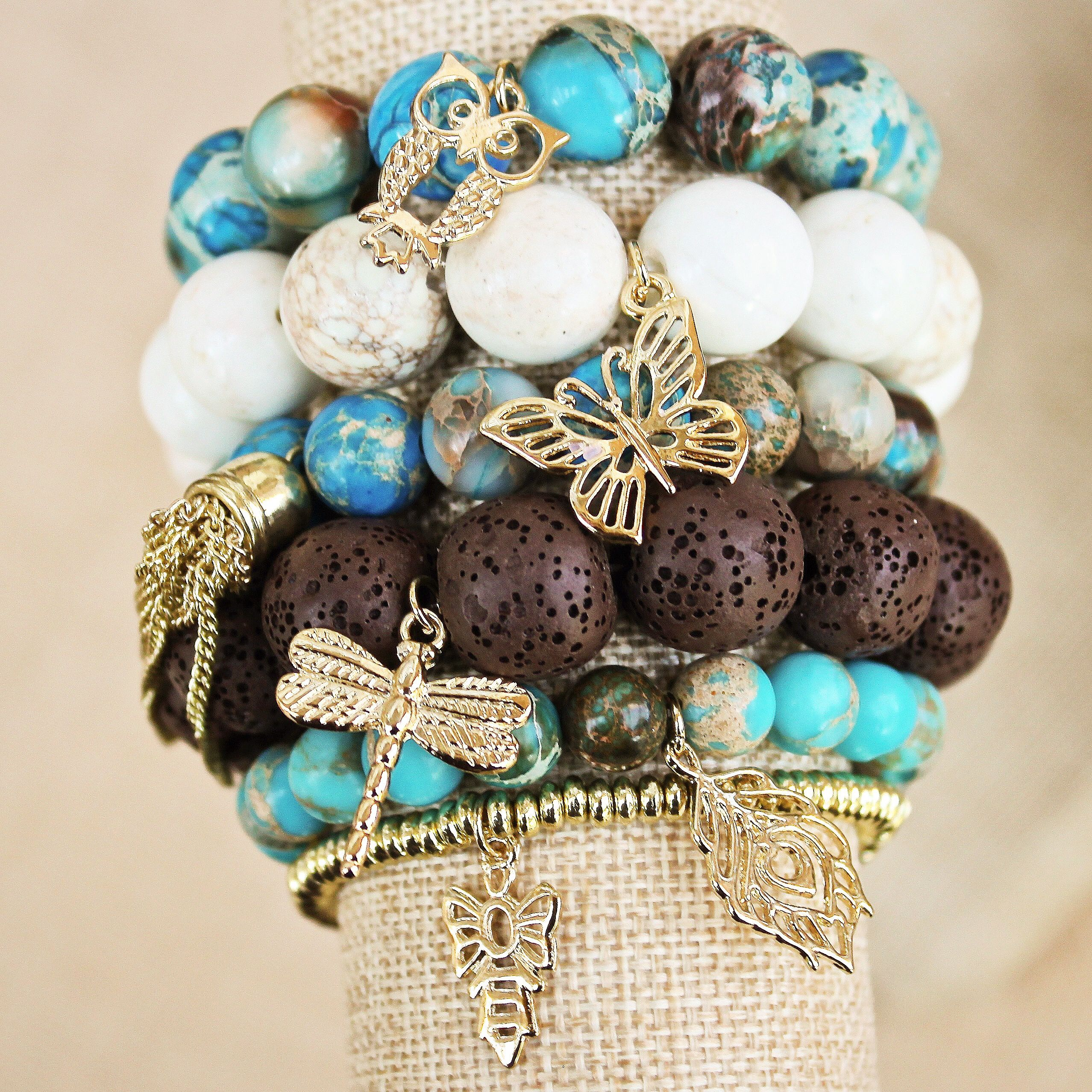 Bohemian boho charm stretch bracelets designed by Denise Yezbak Moore for www.halcraft.com