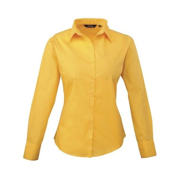 Premier Womens/Ladies Poplin Long Sleeve Blouse Plain Work Shirt ($17) ❤ liked on Polyvore featuring tops, blouses, yellow blouse, round collar blouse, long sleeve shirts, fitted shirt and button collar shirt
