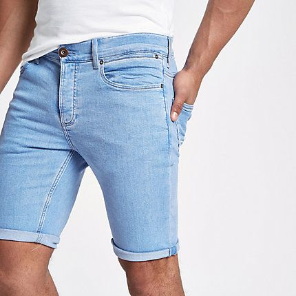 Light blue skinny 90s denim shorts #lightblueshorts