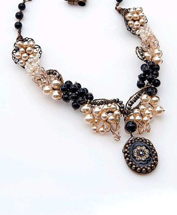 Cream Black Statement Necklace,Vintage Style Necklace, Bridal ...