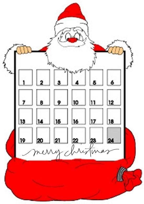 Printable Christmas Countdown Calendar  Free Santa Claus