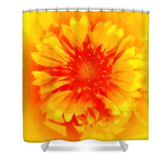 Orange Flower Shower Curtain Abstract Red Orange Yellow Bathroom Curtain Bathroom Decor Accessories Flower Shower Curtain Yellow Bathrooms Flower Shower