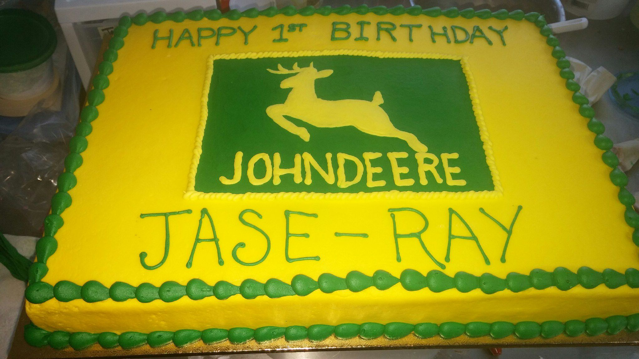 John Deere Sheet cake from Naegelins Sheet Cakes and Basic Rounds
