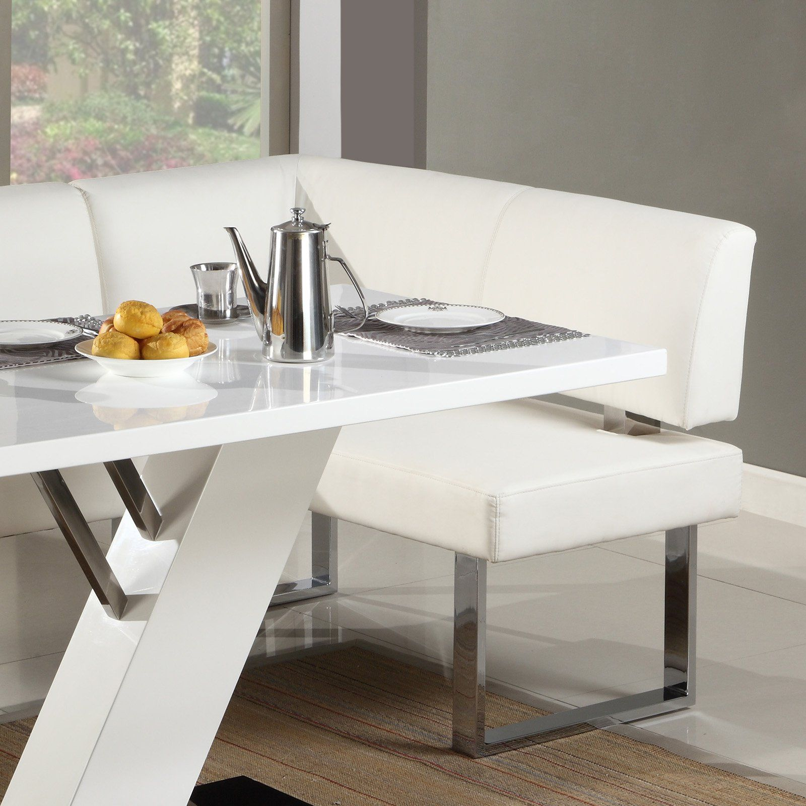 Chintaly Linden L Shaped Dining Bench Dining Bench White Dining