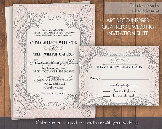 Art Deco Gatsby Style Wedding invitation Set Blush Pink Gray Gold