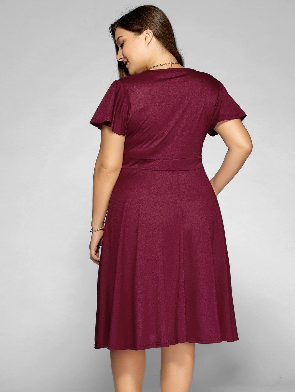 Low Cut A Line Plus Size Surplice Front Tie Swing Dress ...