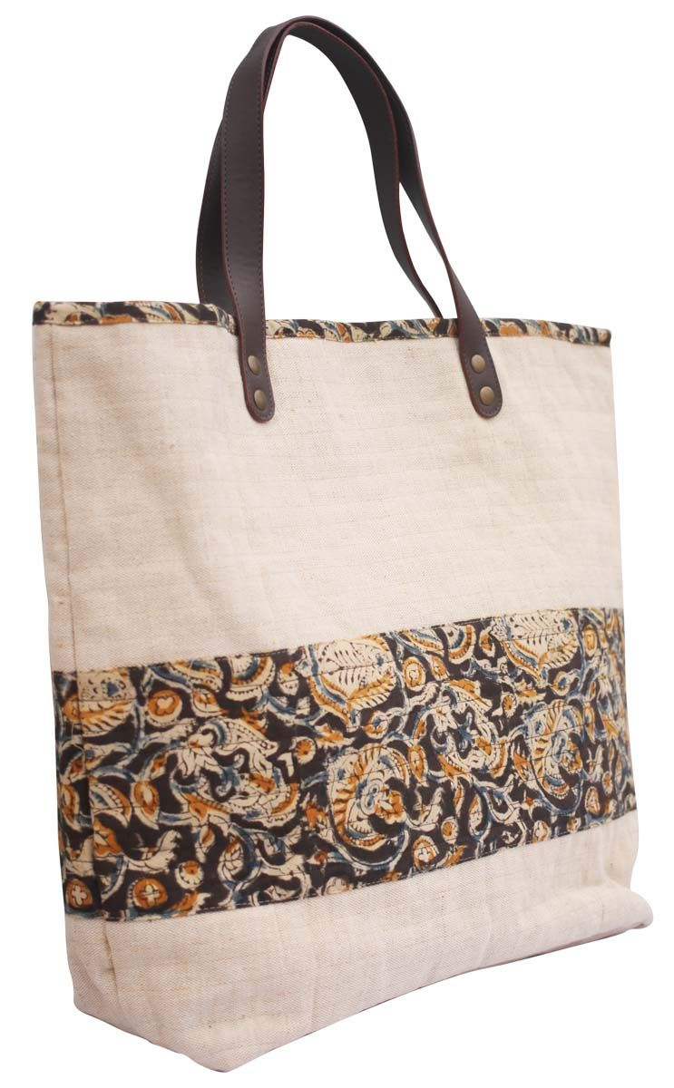 1466223df3 Bulk Wholesale Handmade Brown   Cream Color Shoppers Handbag in Canvas  Material with Floral Print – Adorned with Twin Handles in Faux Leather –  Ethnic-Look ...