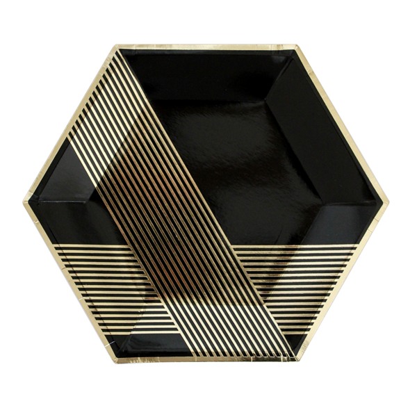 Black Hexagon Large Plates In 2020 Party Plates Black Gold