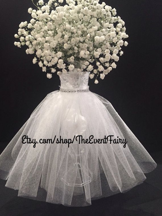 Wedding centerpiece vase couture white bases arreglos Wedding dress vase