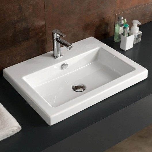 "Ceramic 24"" Wall Mount Bathroom Sink in 2020 Badezimmer"