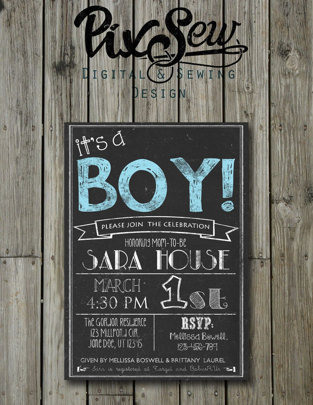 Items Similar To Chalkboard Baby Boy Shower Invitation Card Digital File Printable Personalized On Etsy