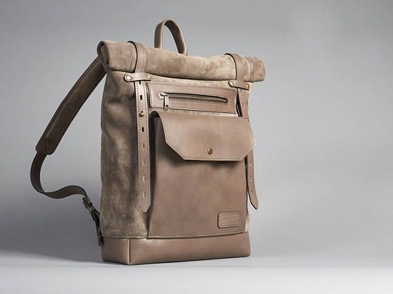 Beige/grey leather backpack. Womens backpack. Daily backpack. Beige leather rucksack.