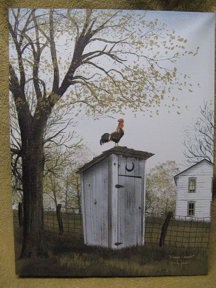 Rooster On Outhouse Canvas Painting Wall Decor Country Farm Bathroom Restroom Country Pintura Y Escultura Pinturas Paisajes