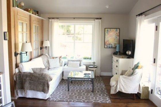 The Walls Are Painted Malibu Beige By Kelly Moore This Room Is Cozy Not Large Storage Clever And Couch Framed So Well In