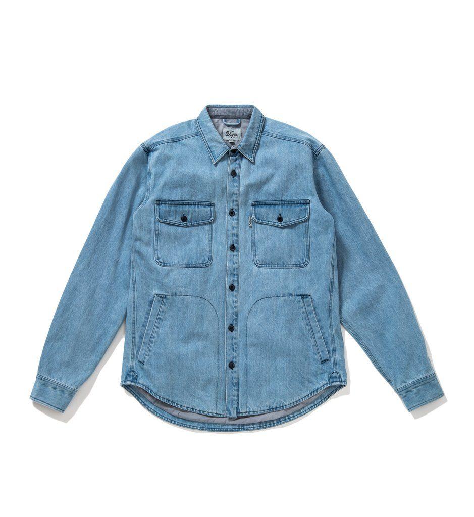 105e5663e 100% cotton denim shirt jacket. Button flap chest pockets and lower ...